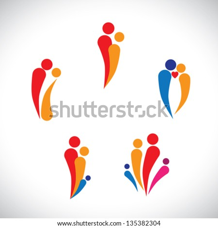 Graphic illustration - family concept parents & children, couple together loving, caring & happy