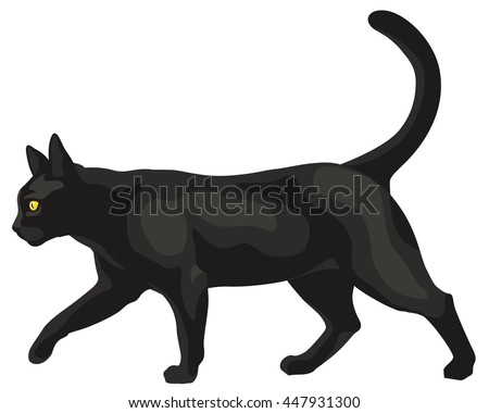 graphic illustration of a black cat walking - stock vector