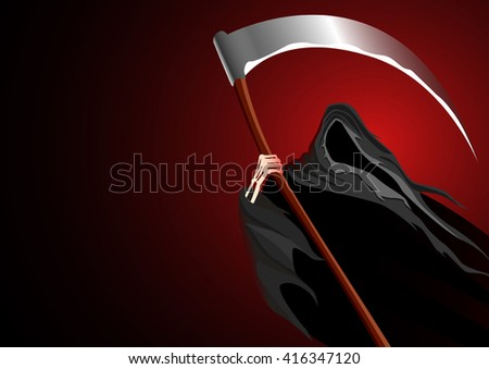 Graphic illustration of a grim reaper on dark background - stock vector