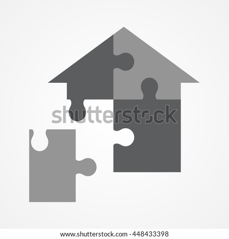 Graphic illustration of a jigsaw puzzle forming house shape - stock vector