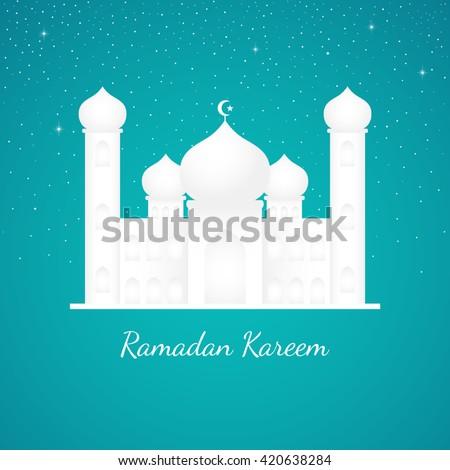 Graphic illustration of a mosque on tosca and starry night sky background. Islam, Islamic, Ramadan Kareem, Eid Mubarak theme - stock vector