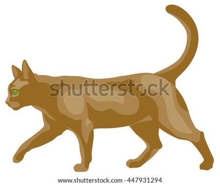 graphic illustration of a yellow cat walking - stock vector