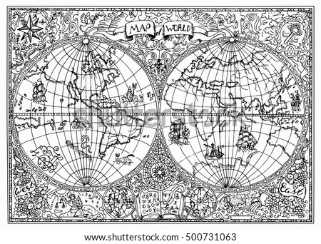 Graphic illustration ancient atlas map world stock vector graphic illustration of ancient atlas map of world with mystic symbols vintage or pirate adventures gumiabroncs Images