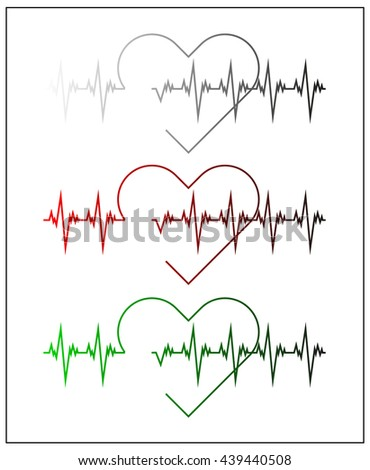 Graphic illustration of cardiogram or cardiograph. Electrocardiogram in black and white, red and green. Heart rate. EKG or ECG test. Heartbeat graph. Vector. Isolated. - stock vector