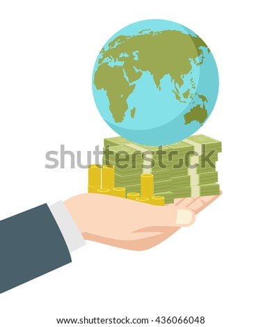 Graphic illustration of hand holding money and earth globe, business, wealth, success, capitalist, capitalism concept - stock vector