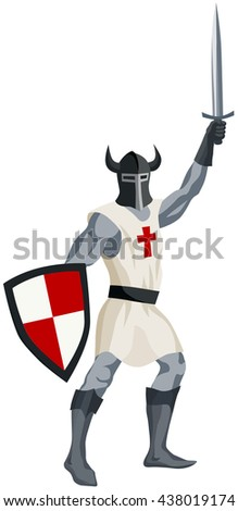 graphic illustration of medieval knight in helmet with shield and sword