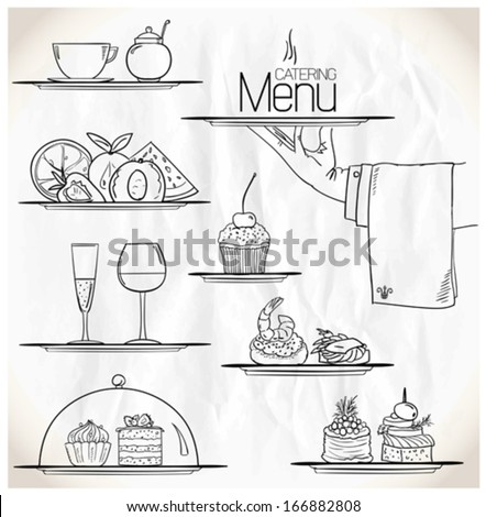 Graphic illustration with catering symbols on a paper. Eps10. - stock vector