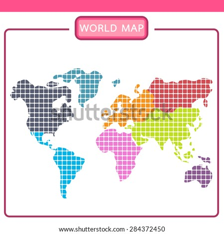 Graphic image world map divided into stock vector 284372450 graphic image of the world map divided into continents gumiabroncs Choice Image