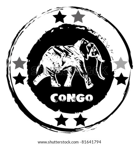 graphic image that simulates a rubber stamp, Congo. - stock vector