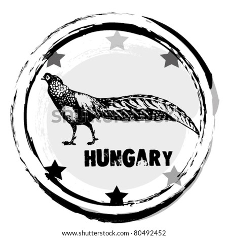 graphic image that simulates a rubber stamp.  different countries. Hungary. vector illustration. - stock vector