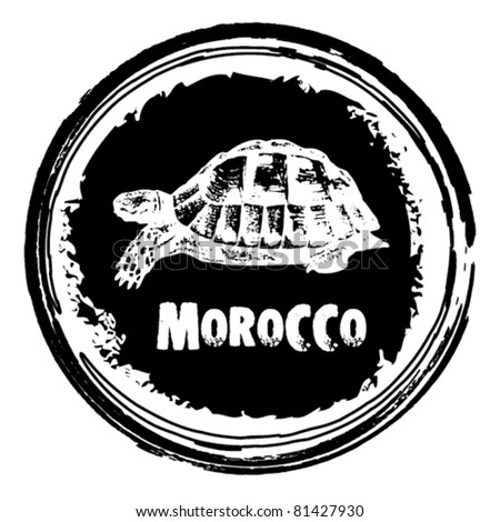 graphic image that simulates a rubber stamp, Morocco. - stock vector