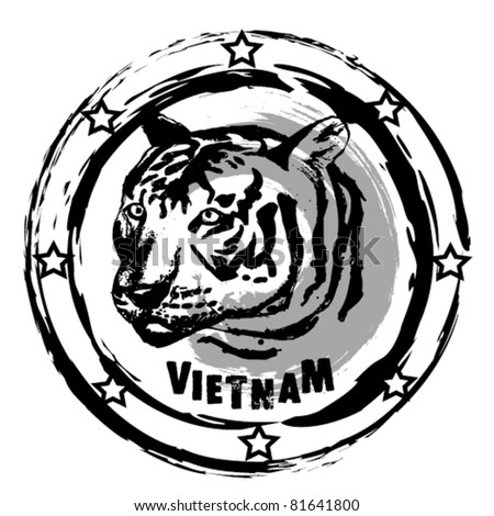 graphic image that simulates a rubber stamp, Vietnam. - stock vector