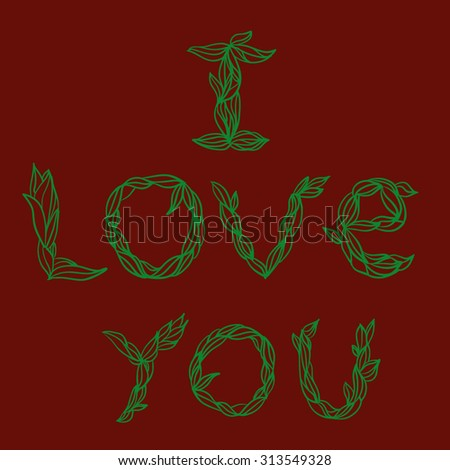 graphic inscription, lettering i love you - stock vector