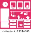 graphic kitchen interior. vector illustration - stock photo