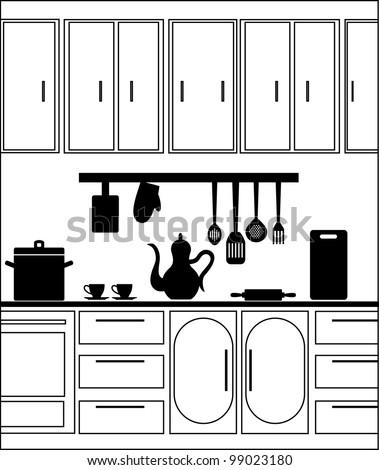 graphic kitchen interior. vector illustration - stock vector