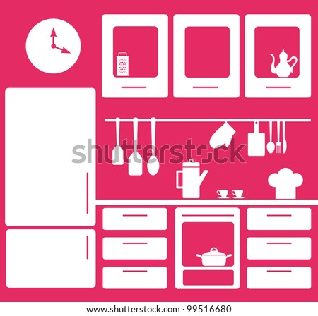 graphic kitchen interior. vector illustration