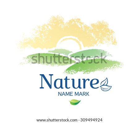 """Graphic landscape with the inscription: """"Nature"""", and the elements of the logo. - stock vector"""