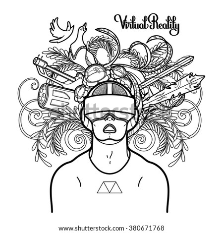Coloring Book Page Design Graphic Man With Open Mouth Wearing Virtual Reality Headset Cyber World On Background VR