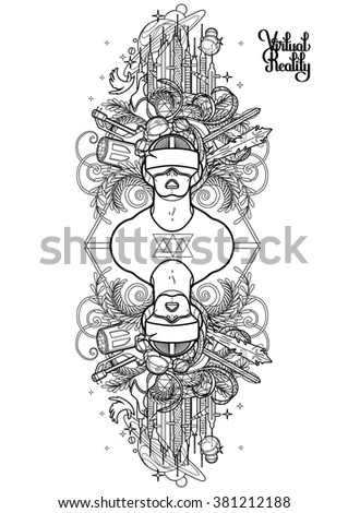 Graphic Man With Open Mouth Wearing Virtual Reality Headset Cyber World On Background VR
