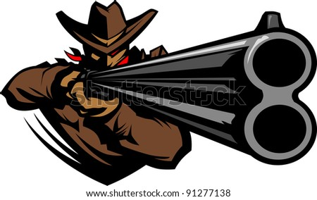 Graphic Mascot Vector Image of a Cowboy Shooting a Rifle - stock vector