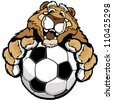 Graphic Mascot Vector Image of a Friendly Cougar or Mountain Lion with Paws on a Soccer Ball - stock vector