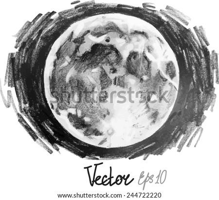 Graphic moon, pencil hatching - stock vector