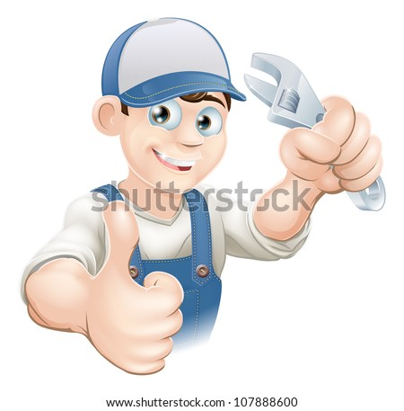 Graphic of a smiling plumber, mechanic or handyman in overalls holding a wrench and giving thumbs up - stock vector