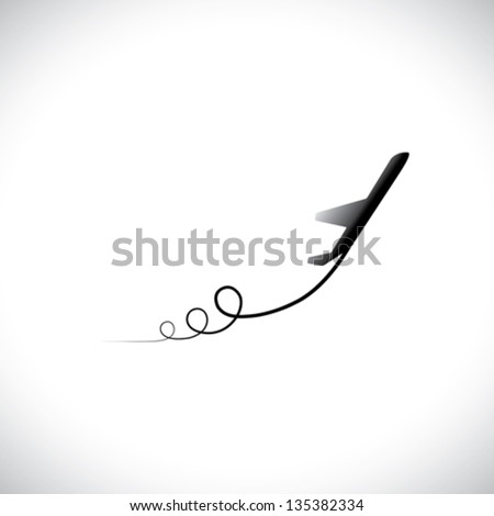 Graphic of airplane icon take off showing its path & in high speed. This illustration can also represent silhouette symbol of a military jet speeding up in the sky - stock vector