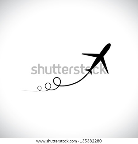 Graphic of airplane icon take off showing its path & speeding up. This illustration can also represent silhouette symbol of a military jet zoom in the sky with high speed - stock vector