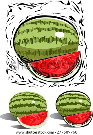 graphic of water melon in woodcut style - stock vector