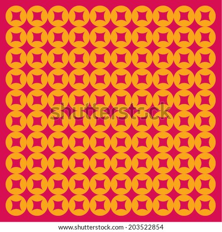 Graphic oriental coins - stock vector