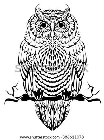 Birds Theme Owl Black White Mandala