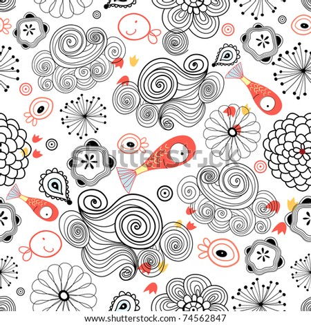 graphic pattern of clouds and fish - stock vector