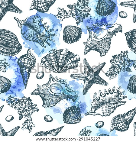 Graphic pattern with seashells watercolor spots. Hand drawing. Watercolor spots. Seamless for fabric design, gift wrapping paper and printing and web projects.