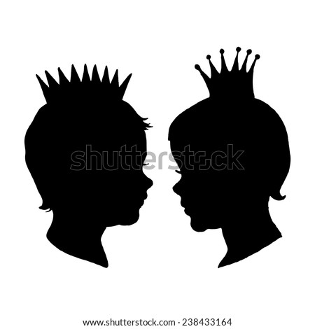 Graphic Prince and Princess. Retro little boy and girl with crown silhouette isolated on white background. Hand drawn vector illustration. - stock vector