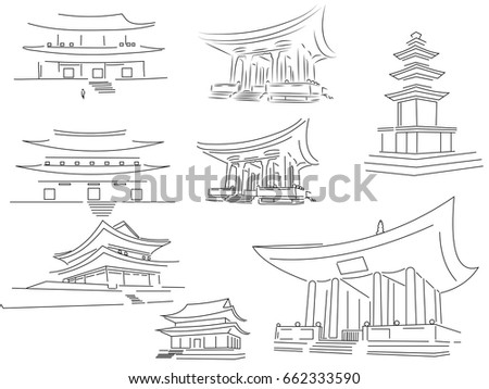 Graphic Representation Of Buddhist Temples In Korea China Vietnam Burma Thailand