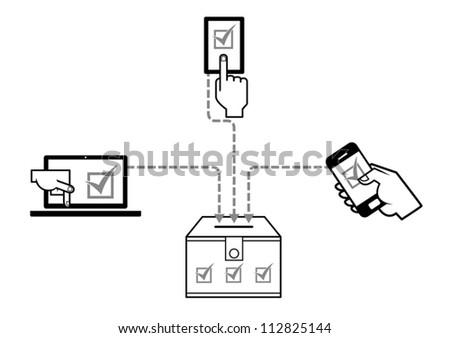 Graphic representing digital democracy process. - stock vector