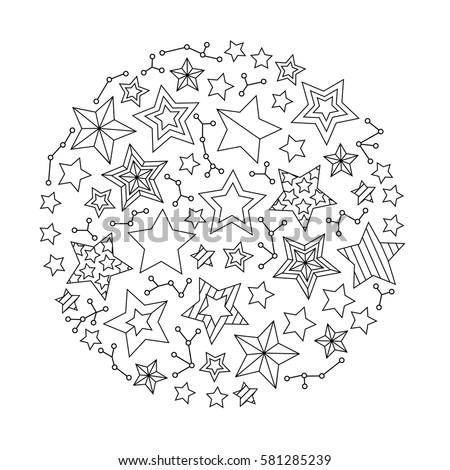 Graphic Round Mandala With Stars Zentangle Inspired Style Coloring Book Page For