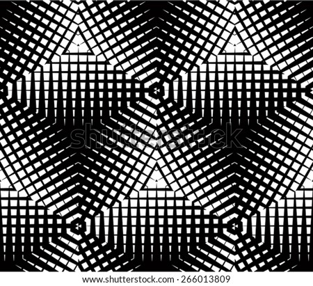 Graphic seamless abstract pattern regular geometric black and white 3d background contrast ornament
