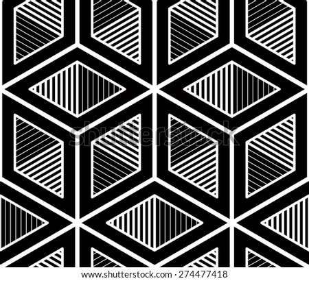 Graphic seamless abstract pattern, regular geometric black and white 3d background. Contrast ornament. - stock vector