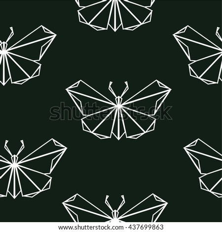 graphic seamless pattern polygonal origami  Butterflies
