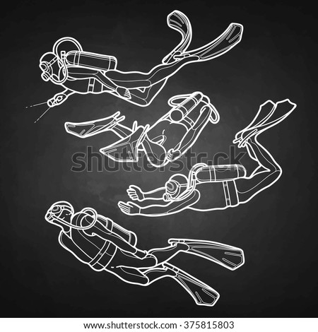 Graphic set of scuba divers drawn in line art style isolated on chalkboard. Marine hobby. Sea and ocean vector illustration