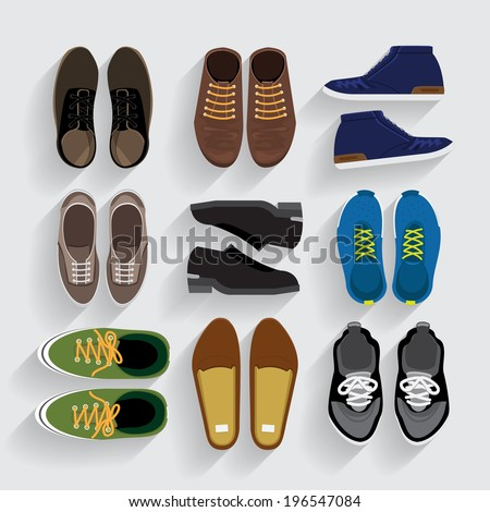Graphic Set Shoes  flat design vector style - stock vector