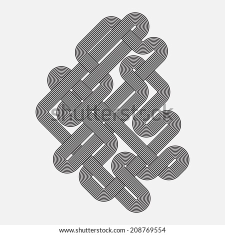 Graphic shape, vector element, twisted lines - stock vector