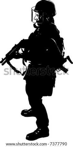 Graphic Silhouette of a full uniform special operation, military figure. Isolated on white.