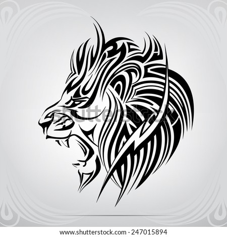 Graphic silhouette roaring lion - stock vector