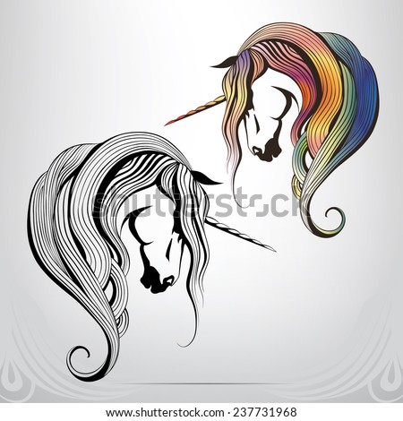 Graphic symbol of the Unicorn - stock vector