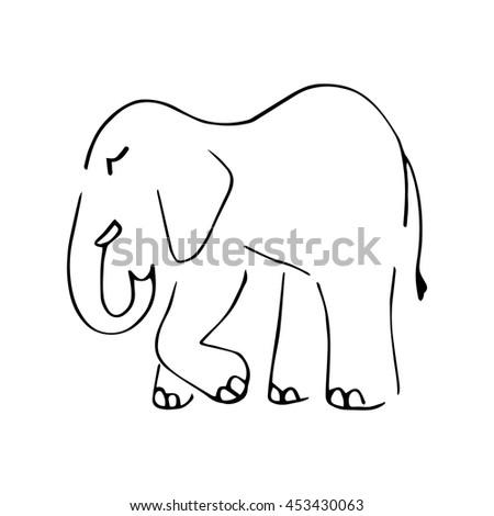 Graphic Symbolic Elephant Black Lines On Stock Vector 453430063