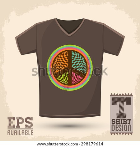 Graphic T- shirt design - Peace and Love Icon, emblem - shirt graphic design - vector illustration - stock vector