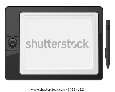 Graphic tablet on a white background. Vector illustration.